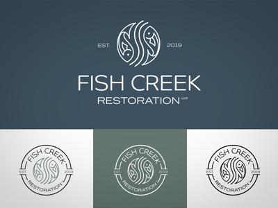 Fish Creek Restoration LLC Logo icon typography logo design branding