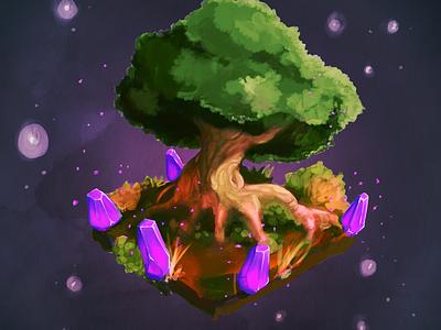 Glowing Nature digital painting tree nature mineral illustration glow art amethyst