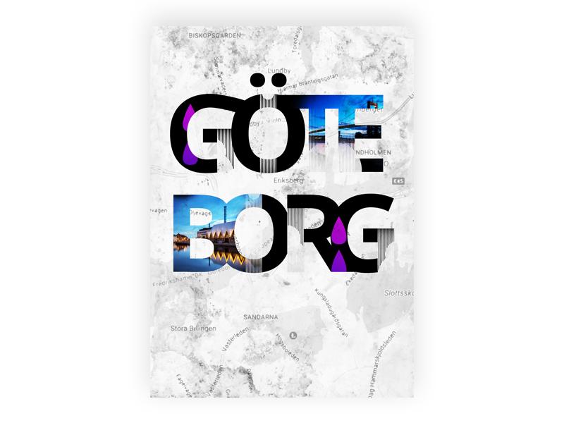 Rainy ol' Gothenburg art illustration smog oil map typography poster city rain gothenburg