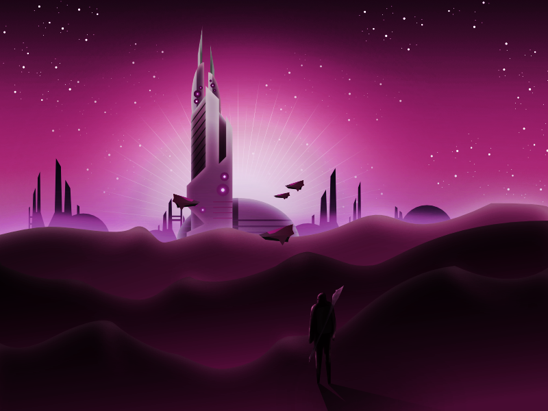 Desert City concept design concept art affinity sky purple stars hills starship sci-fi illustration city desert