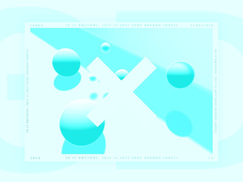 3D #1 shadow light illustration gradient sphere cyan poster design clean 3d