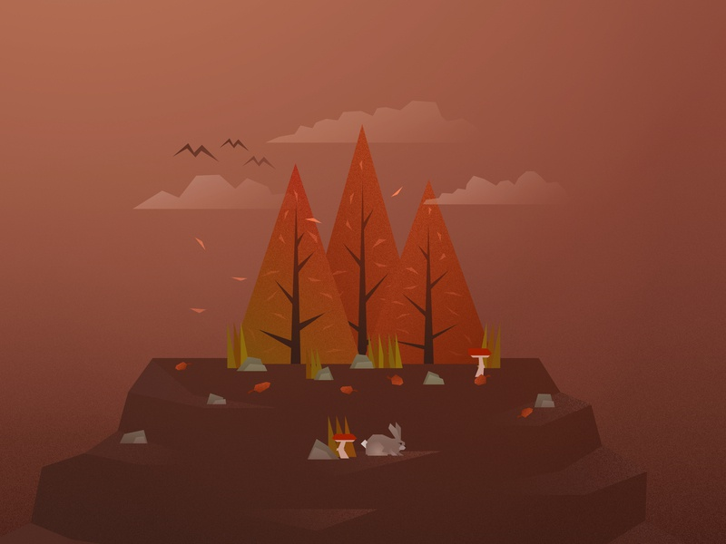 Autumn Trees camping grain noise seasons simplicity vintage autumn fall rabbit woodland tree forest nature lowpolyart low poly vector clouds design art illustration