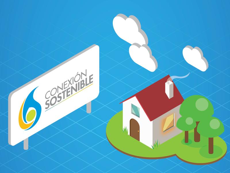 Conexión sostenible, infografía vector calidda isometric infographics