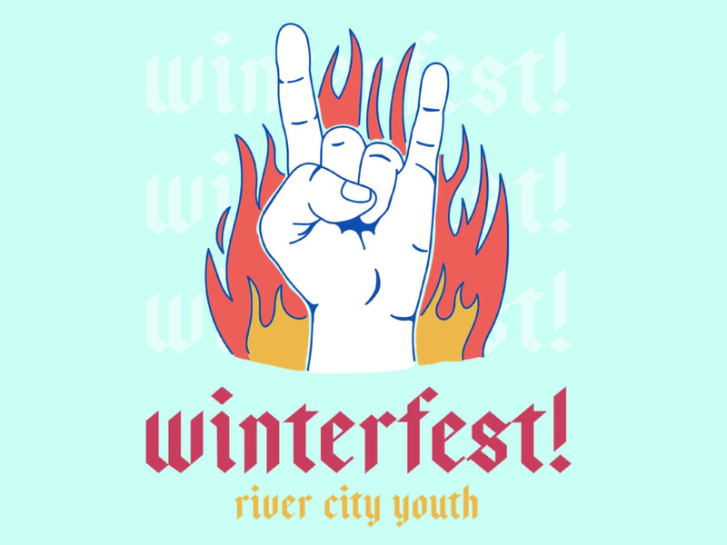 Winterfest! hand flames fire sketch unused rock and roll rock graphic social media church marketing church blue band handmade design type logo linework simple illustration