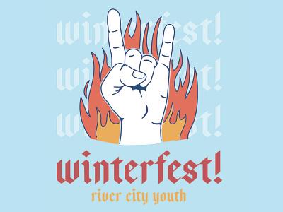 Winterfest! hand flames fire sketch unused rock and roll rock graphic social media church marketing church blue band handmade design type logo linework simple illustration