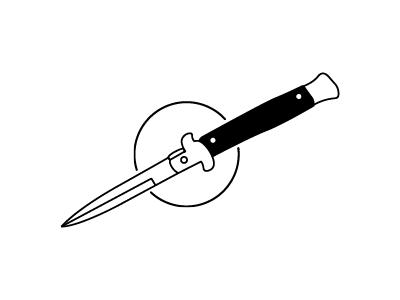 Issa Knife switchblade dark linework simple illustration knife