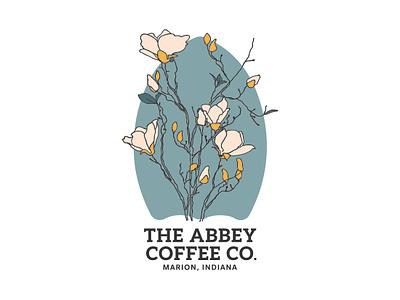 Abbey Coffee Co. Flower Design illustration linework blue simple coffee bar sticker design sticker flower illustration natural flower floral abbey brand coffee
