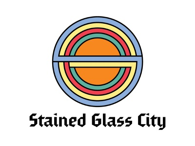 Stained Glass City Logo retro colorful design vector simple bands stained glass logotype logo music band