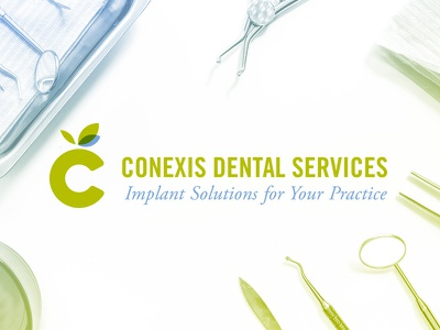 Conexis Dental Services c leafs education implants icon logo dental apple