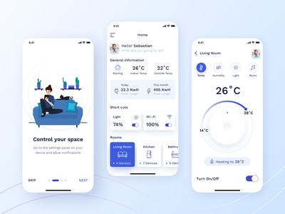 Smart Home App smart home mobile app ios dashboad graphics controls smarthome smart application app illustration popular style design ui uiux