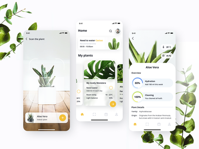 Plant Application scanner plants plant ui design style popular ios app ios app app design design ux ui uiux