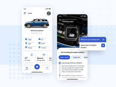 Car AR app concept smart car mobile dashboard car app mobile app automobile garage minicooper car popular ar uiux ui