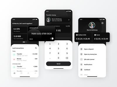 Mobile bank app concept mobile ui payments fintech transactions money finance app finance dark theme app walletapp wallet credit card bank card banking bank app bank uidesign mobile uiux ui