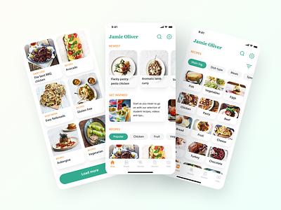 Jamie Oliver Cooking App style application nutrition cookbook cafe food branding popular cooking app design app recipe cook ux uiux ui design