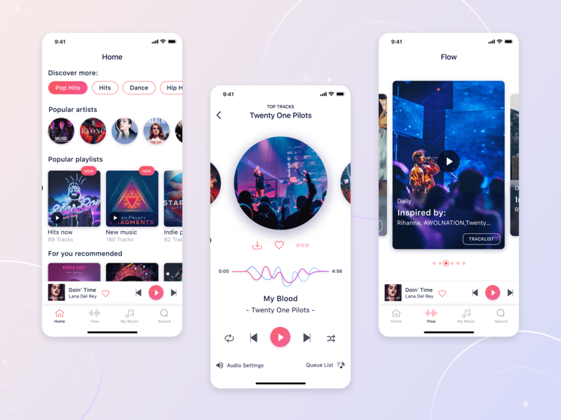 Music App artists popular musicapp music style color colorful iphonex icon branding vector ios app ios illustration design application ui uiux appdesign