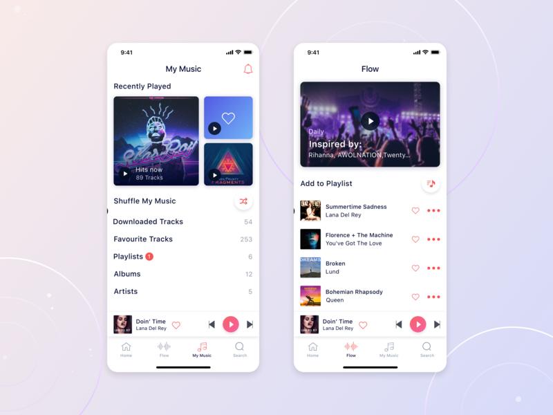IOS Music Application style popular playlist flow play list song musicapp mobile design application iphonex apple music uiux ui app