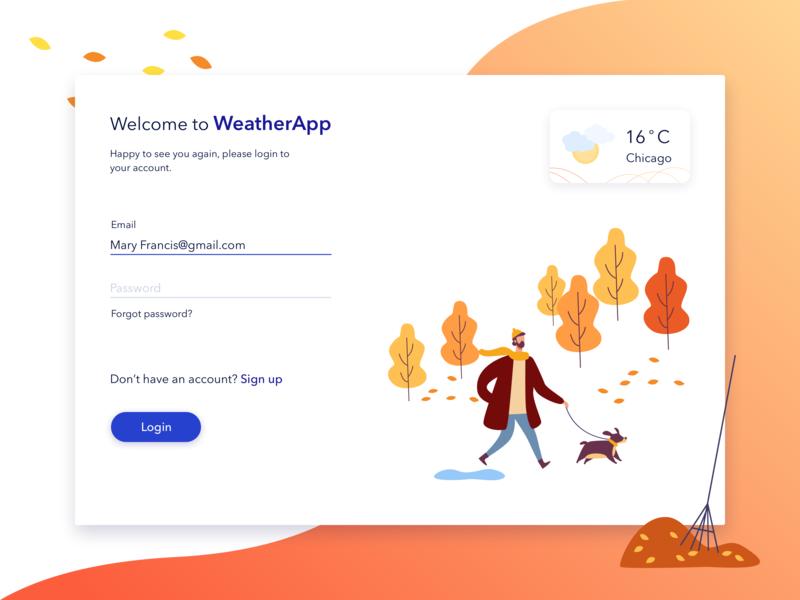 Login Form weather forecast weather widget weather app autumn register sign up sign in registration login form login vector illustration color app design uiux ui