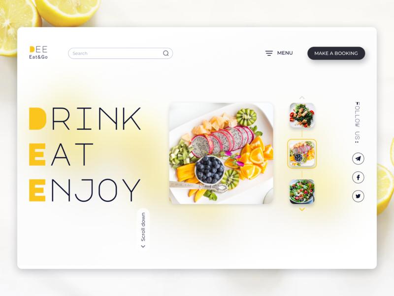 Food Cafe Landing foodservice style site food and drink booking web landingpage landing cafe food ui design popular ui design uiux