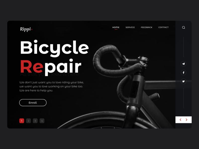 Biсycle Repair Service style dark ui popular black services repair bicycle bike website landing web uiux ui design