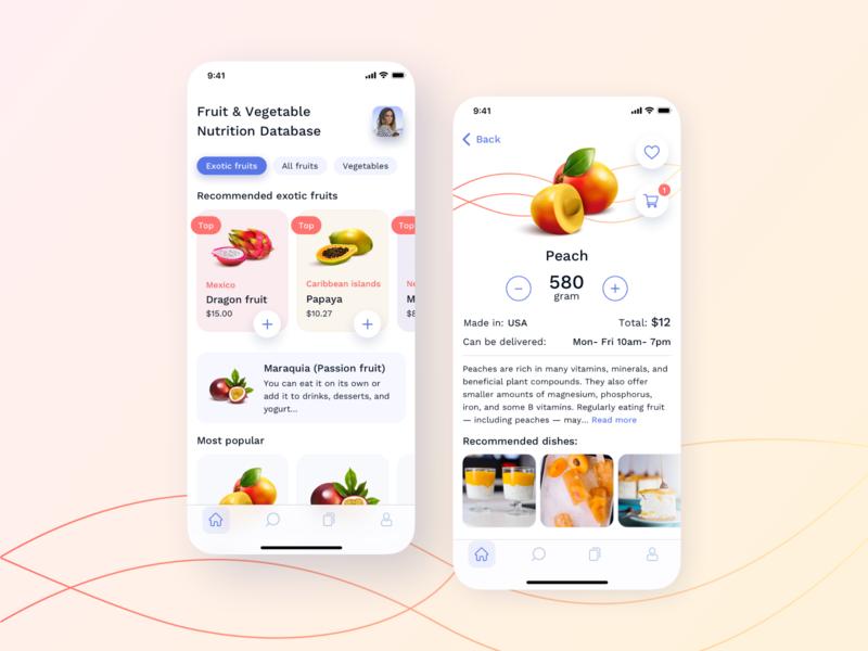 Nutrition application vegetables fruits popular style color food app nutrition food ios app design app design uiux ui