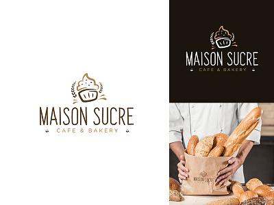 Maison Sucre cafe & bakery bakery logo cafe logo usman chaudhery usman app web typography logo design flat vector illustration icon design branding logo