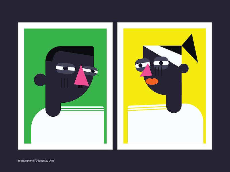 Black Athletes illustrator character design character black flat design illustration
