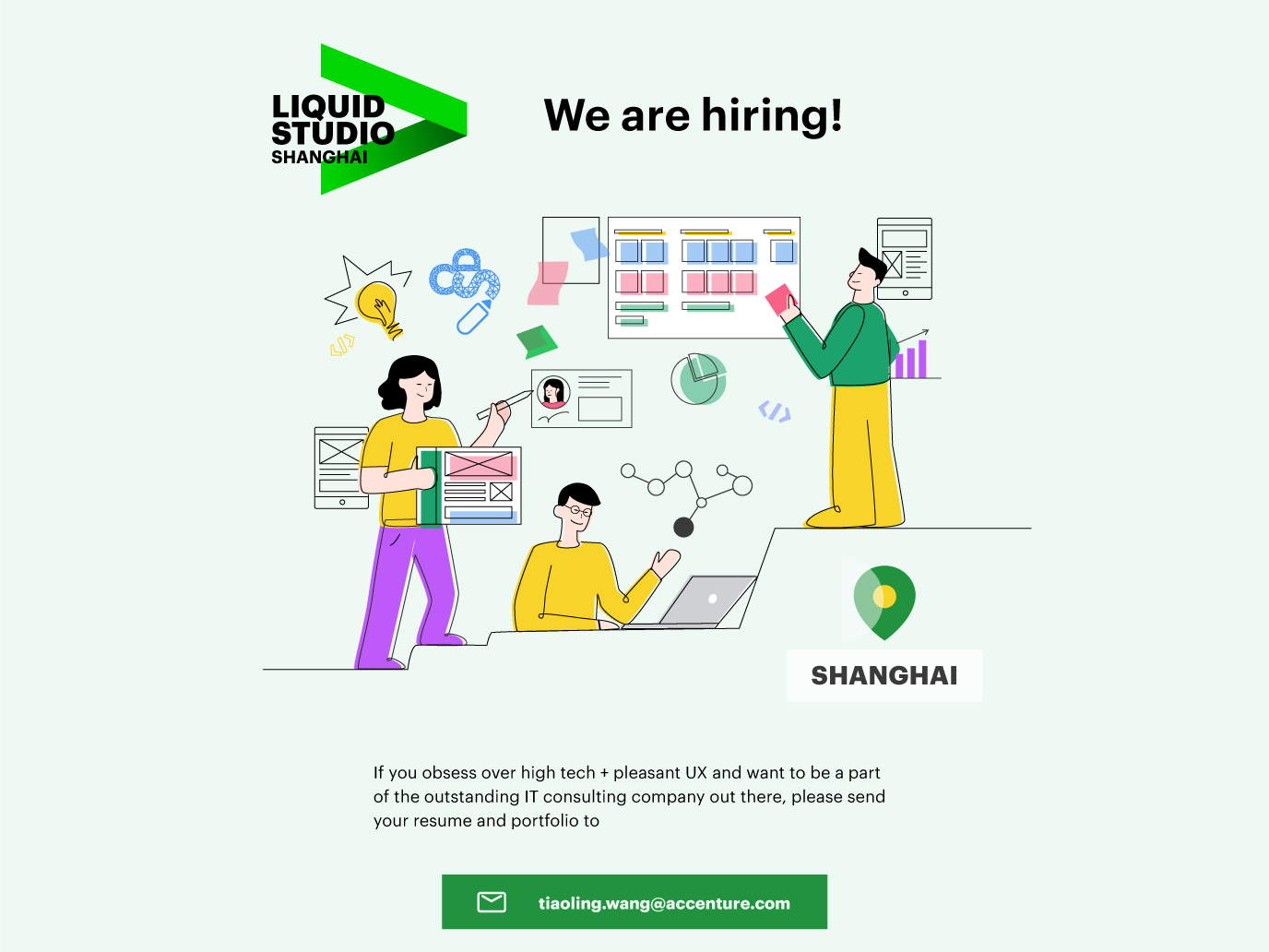 Liquid Studio Recruiting Poster identity illustrator ux flat minimal web ui vector illustration design