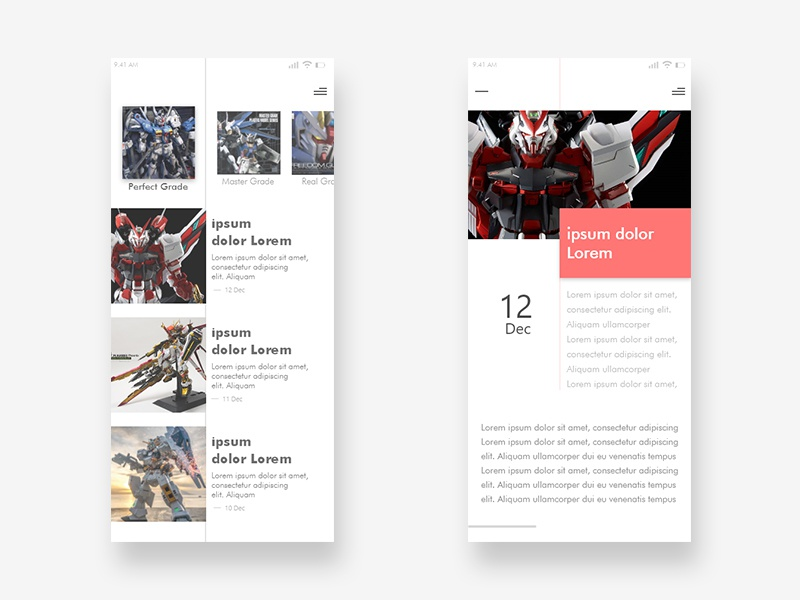 News Feed Gunpla news app news feed ux design ux ui ui ux ui design hobby news gundam gunpla