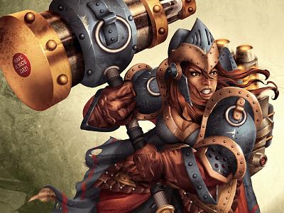 Have a Nice Day! hammer steampunk dwarf warrior anger