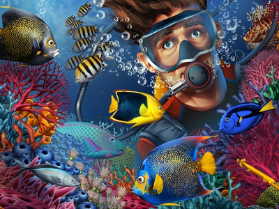 Coral coral reef fishes diving