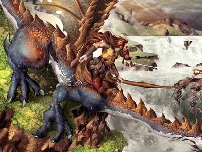 The Hunter hunter gryphon dragon illustration card game digital painting