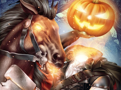 Jack-o'-lantern painting sleepy holloe riding halloween horse illustration digital