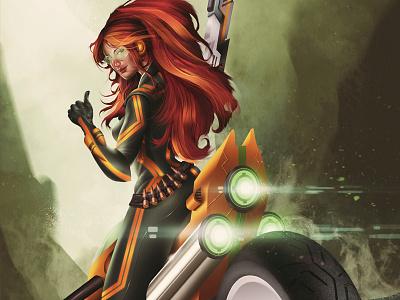 Mad Maxine bike girl weapon fiction futuristic