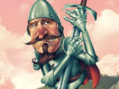The Knight knight beard man standing sword