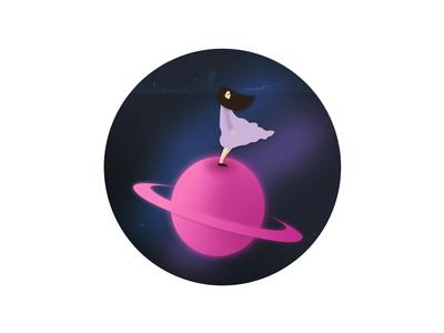 Wander girl exploring universe