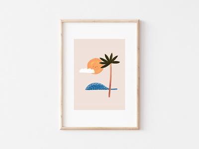 Sunny waves etsy illustration palm palmtree beach summer waves sun