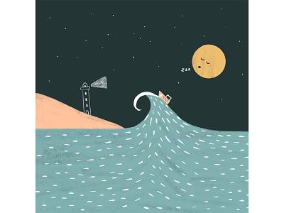 Peachtober 12: Foam childrens illustration boat island lighthouse night moon wave waves sea