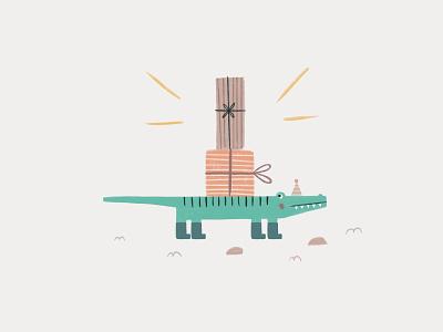 Peachtober 16: Stripes childrens illustration birthday presents crocodile