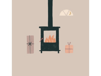 Peachtober 18: Warm wood stove stove evening presents fireplace fire