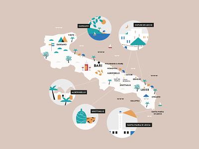 Map of Puglia illustration italian food lighthouse pasta wine map italia italy puglia