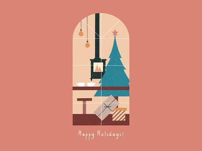 Happy Holidays! windows warm stove christmas card presents coffee fireplace coffee bar christmas tree christmas