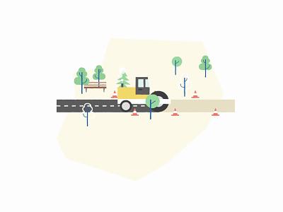 Asphalting bike lane trees construction roadwork work road asphalt