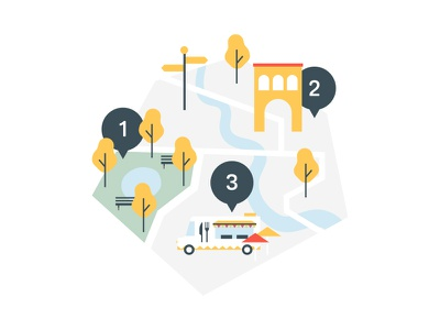 Discover route icon spots trees park foodtruck map city discover