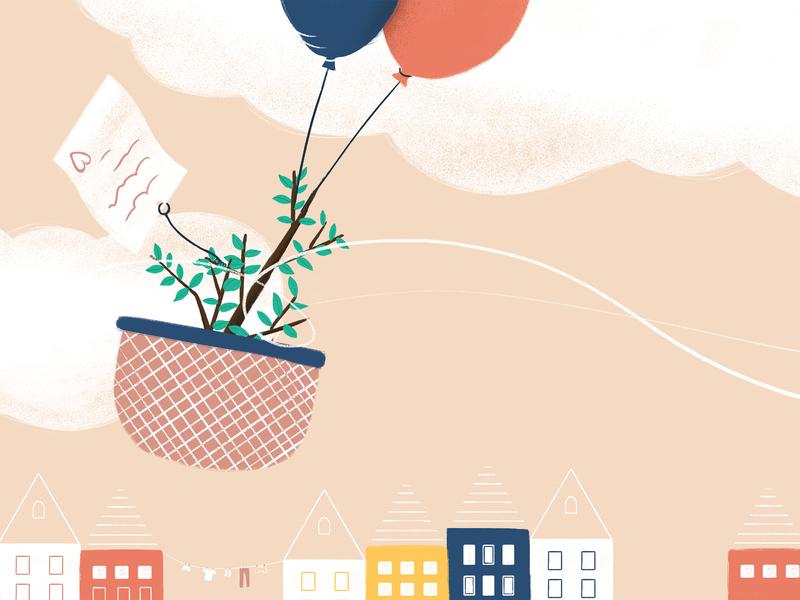 Orphan crop basket flying sky laundry skyline coffee plant orphan balloons