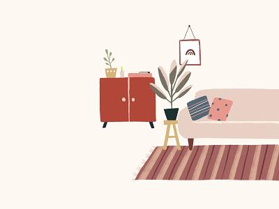 Inktober Day 25: Seat home plants rug carpet living room sofa seat