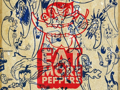 Panel No 5 | EAT MORE PEPPERS contemporary illustration contemporary pop art expressionism abstract graphic art typography character design concept artwork design illustration branding graphic design