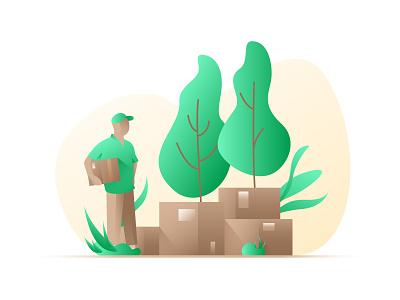 Express Delivery Man illustration tree goods courier deliveryman