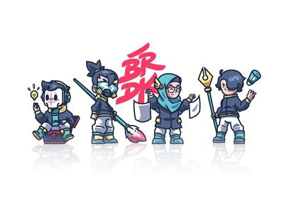 Barudak Team character pink branding pentool knight brush vector illustration