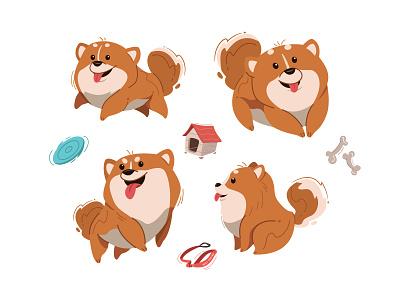 Pomeranian Dogs 🐶 active cute animal design vector simple flat illustration pet pomeranian dog