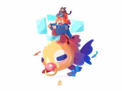 Ocean Rider character cute vector illustration boy cat fish ocean